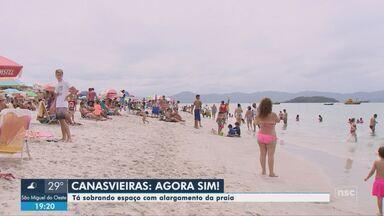 Moradores aprovam o alargamento de areia na praia de Canasvieiras em Florianópolis - Moradores aprovam o alargamento de areia na praia de Canasvieiras em Florianópolis