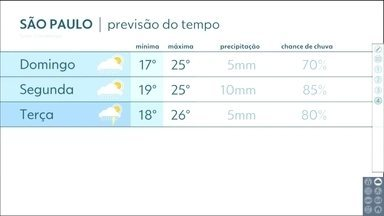 Confira a previsão do tempo para a próxima semana em SP - Previsão é de chuva fraca desde cedo na capital neste domingo (19).