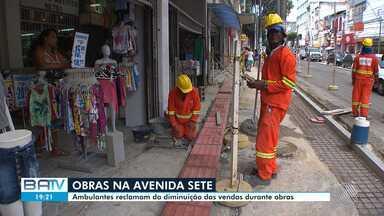 Avenida 7 tem trechos interditados por obras e comerciantes reclamam de queda nas vendas - Saiba quais são as áreas afetadas neste fim de semana e as rotas alternativas para desvio.
