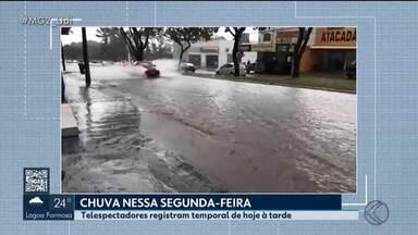 Uberlândia registra alagamentos durante chuva nesta segunda-feira - As avenidas Taylor Silva e Comendador Alexandrino Garcia foram tomadas pela água. Árvores caíram na BR-365 e impediram parcialmente a estrada.