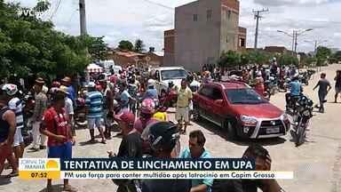 Moradores de Capim Grosso tentam agredir suspeitos de envolvimento na morte de taxista - A polícia foi acionada para conter os populares, que estavam revoltados com o crime.