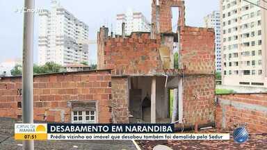 Após desabamento, imóveis condenados são demolidos em Narandiba - Caso ocorreu na tarde de quinta-feira (23).