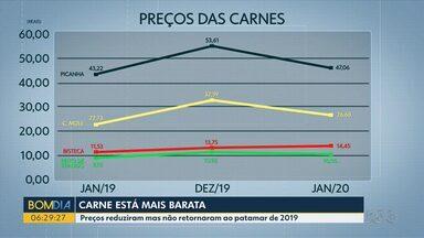 Preço da carne tem leve queda - Preços reduziram mas não retornaram ao patamar de 2019.