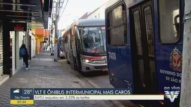 Tarifas do transporte intermunicipal e do VLT aumentam na Baixada Santista - Novos valores entraram em vigor neste domingo (26). Além dos ônibus metropolitanos, a tarifa do Veículo Leve sobre Trilhos (VLT) também sofreu reajuste.