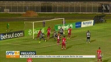 XV abre 2 a 0, sofre empate do Audax na reta final e segue sem vencer na Série A2 - Nhô Quim sofreu dois gols em um intervalo de cinco minutos e deixou escapar a primeira vitória no Campeonato Paulista.