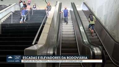 Começou o conserto da escada rolante da Rodoviária do Plano Piloto - Segundo a Administração, os 12 elevadores e escadas rolantes devem ficar prontos em 90 dias.
