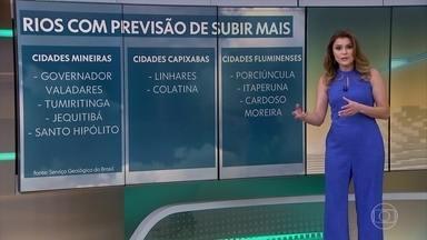 Serviço Geológico do Brasil diz que rios podem subir mais em 9 cidades entre MG, ES e RJ - Veja a previsão do tempo completa para todo o Brasil e onde há risco de temporal nos próximos dias.
