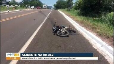 Motociclista fica ferido em acidente na BR-262 - Batida envolveu carro e moto próximo de Aquidauana