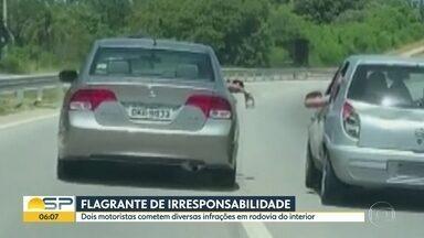 Flagrante de irresponsabilidade em rodovia do interior - Dois motoristas cometeram diversas infrações na rodovia João Leme dos Santos