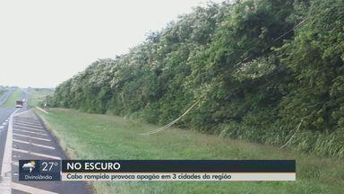 Queda de fio de alta tensão na rodovia SP-330 deixa 3 cidades sem energia elétrica - Interrupção começou às 22h41 de quarta-feira (29) e seguiu até 4h09 de quinta-feira (30) em Araras, Leme e Santa Cruz da Conceição.