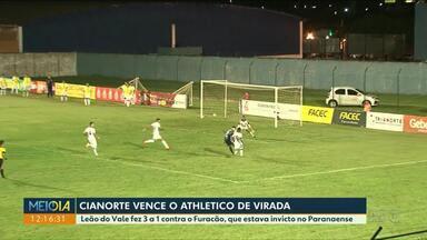 Cianorte aplica vitória por 3 a 1 sobre o Athletico - Jogo foi na noite de quinta-feira (30), no Albino Turbay.