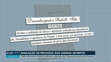 OAB e Ministério Público criticam a decisão do Tribunal de Justiça do Paraná - Tribunal de Justiça entendeu que o pedido de busca e apreensão de documentos foi ilegal .