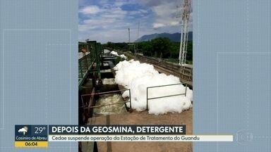 Captação de água é suspensa após Cedae identificar detergente no Guandu - A Cedae interrompeu a captação de água na estação de tratamento do Guandu, depois que uma análise identificou detergente. O abastecimento está suspenso.