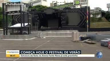 Arena Fonte Nova recebe os últimos preparativos antes do Festival de Verão - Evento acontece neste fim de semana, em Salvador.