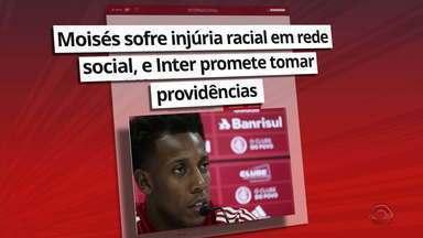 Moisés sofre injúria racial em rede social, e inter promete tomar providências - Inter identifica duas pessoas; Clube emitiu uma nota de repúdio.
