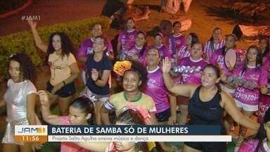 Conheça projeto de bateria de escola de samba feita apenas por mulheres - Projeto ensina música e dança.