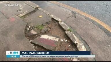 Duas obras públicas recém entregues pelo Governo ja precisam de reparos - Uma em Bragança e outra em Salinas, região nordeste do estado.