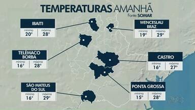 Fim de semana terá chuvas isoladas na região dos Campos Gerais - Confira a previsão do tempo.