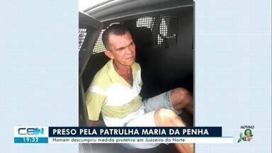 Patrulha Maria da Penha prende homem que descumpriu medida protetiva em Juazeiro do Norte - Confira mais notícias em g1.globo.com/ce