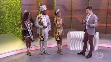 Corte Momesca do carnaval 2020 de BH participa do estúdio do Mg1 deste sábado (08/02) - Rainha, Princesa e Rei Momo falam sobre expectativa para a folia deste ano que em BH começa oficialmente hoje.