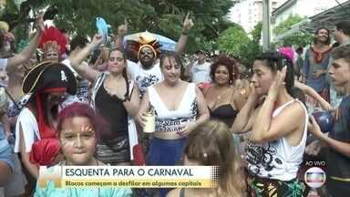 Blocos de carnaval já animam foliões em várias capitais do país - Neste sábado, blocos no Rio de Janeiro e no Recife foram para as ruas. Em Olinda, os ateliês aceleram a produção dos bonecos gigantes.