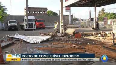 Suspeitos explodem cofre de posto de combustíveis, em João Pessoa - Imagens de câmeras de segurança mostram toda a ação.