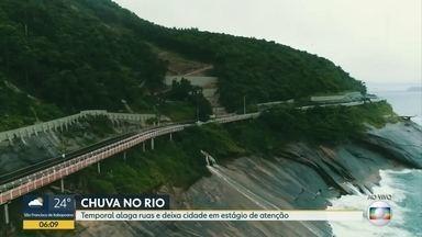 Drone do Bom Dia sobrevoa a avenida Niemeyer - A avenida Niemeyer está fechada para o trânisito há mais de seis meses. Com as chuvas, a água desce com força nas encosta.
