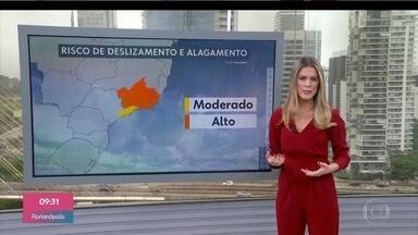 Confira a previsão do tempo para o sudeste nesta quarta-feira - Ainda são esperadas fortes chuvas para Minas, Rio e Espírito Santo. Para São Paulo há riscos de deslizamentos, mas a chuva deve diminuir