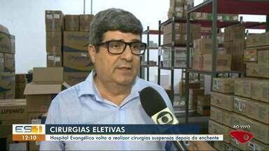 Hospital Evangélico volta a realizar cirurgias suspensas depois de enchente no Sul do ES - Notícia boa para quem está esperando fazer cirurgia.