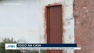 Duas crianças se queimaram, após os pais colocarem fogo na casa, em Goiânia - Os pais das crianças também ficaram feridos.