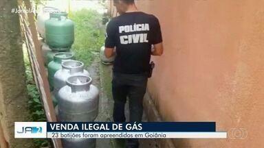 Polícia Civil realiza operação contra o comércio ilegal de botijões de gás - Cerca de 23 botijões de gás foram apreendidos.