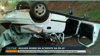 Mulher morre em acidente na PR-497, em São Miguel do Iguaçu - Motorista do carro ficou ferido.