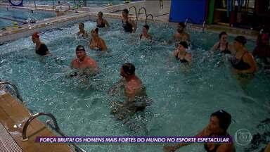 Antes do Força Bruta no Verão Espetacular, homens mais fortes do mundo passam por desafio na piscina - Antes do Força Bruta no Verão Espetacular, homens mais fortes do mundo passam por desafio na piscina