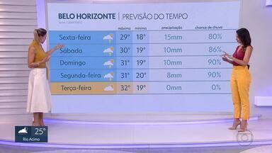 Chuva deve diminuir neste fim de semana em Minas e em Belo Horizonte - A previsão é que o tempo já fique firme a partir da próxima terça-feira.