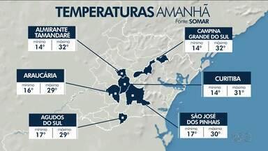Confira a previsão do tempo para o final de semana em Curitiba e região - Temperatura volta a passar dos trinta graus.