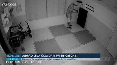 Câmeras flagram furto de creche em Londrina - Ladrão levou duas TVs e ainda a comida da merenda das crianças que estava na geladeira