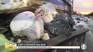 Lixo acumulado e cavalos soltos na margem da DF-250 - De acordo com os moradores do Itapoã, eles pedem pra administração instalar papa lixo desde 2015.