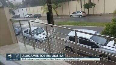 Em Limeira, motoristas e comerciantes são prejudicados por chuva forte - Bombeiros foram chamados para atender a situação.