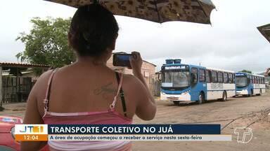 Área de ocupação começou a receber o serviço de ônibus nesta sexta-feira, 21 - Moradores do Juá festejaram implantação do serviço no bairro.
