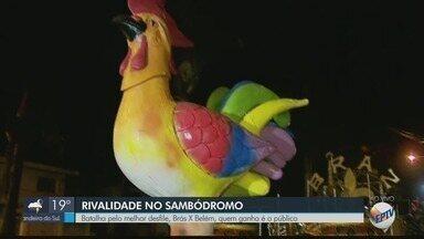 Desfiles de escolas de samba anima foliões em sambódromo de Monte Santo de Minas, MG - Competição entre escolas anima público