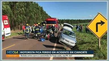 Carro e caminhão batem na PR-567, em Cianorte - Motorista do carro ficou ferido e foi socorrido pela Samu.