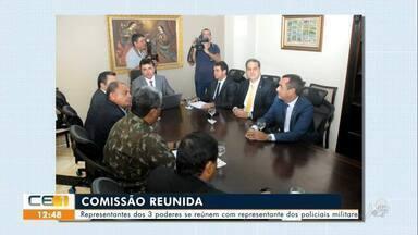 Representantes dos 3 poderes se reúnem com representante dos policiais militares - Saiba mais em g1.com.br/ce
