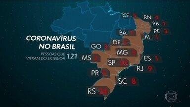 Brasil já tem 132 casos suspeitos de novo coronavírus - Número aumentou mais de cinco vezes em um dia. Ministério da Saúde criou o telefone 136 para tirar dúvidas sobre a Covid-19.