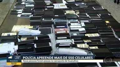 Polícia prende nove pessoas que tentavam embarcar com celulares furtados para a África - Maioria dos aparelhos foi furtada durante o carnaval. Suspeitos foram detidos no aeroporto de Guarulhos.