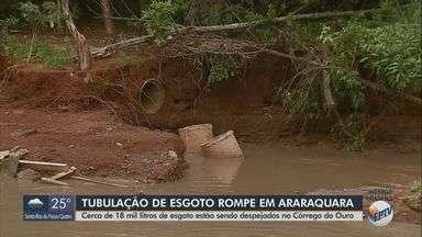 Tubulação rompe e despeja 18 mil litros de esgoto por minuto em córrego de Araraquara - Situação no Córrego do Ouro, em Araraquara, preocupa.