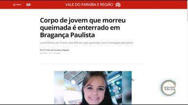 Jovem que morreu queimada é enterrada em Bragança Paulista - Polícia investiga o caso.