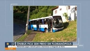 Ônibus fica sem freio em morro de comunidade de Florianópolis - Ônibus fica sem freio em morro de comunidade de Florianópolis