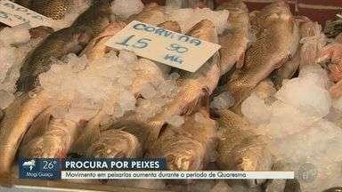 Movimento em peixarias de Campinas aumenta na Quaresma - Consumidores relatam que ainda não notaram aumento no preço dos produtos devido ao período.