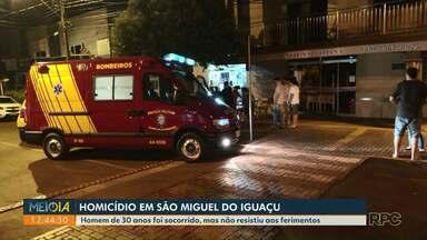 Polícia investiga um homicídio em São Miguel do Iguaçu - Homem de 30 anos foi socorrido, mas não resistiu aos ferimentos.
