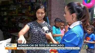 Homem cai do teto do Mercado Público em Juazeiro do Norte, é levado para Hospital Regional - Saiba mais em g1.com.br/ce